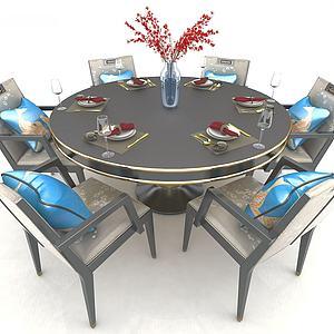 歐式餐桌3d模型