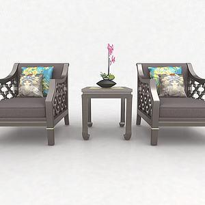 中式休閑椅3d模型