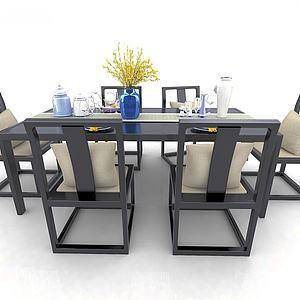 中式風格桌椅3d模型
