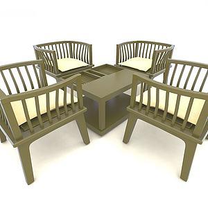 中式風格休閑沙發3d模型