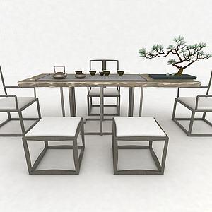 中式茶臺3d模型
