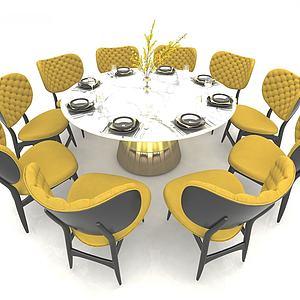 歐式風格餐桌椅3d模型