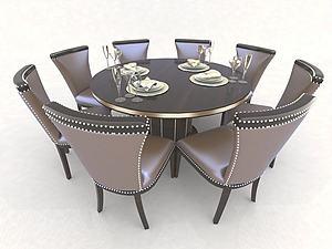 歐式餐桌椅模型3d模型