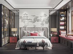 新中式主臥室模型3d模型
