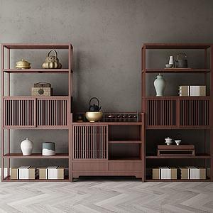 新中式裝飾架柜模型3d模型