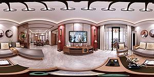 新中式客餐廳模型3d模型