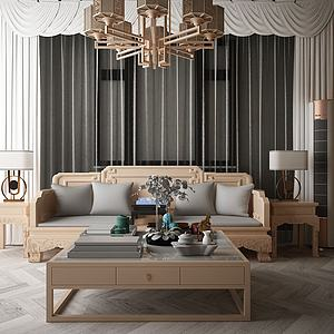 新中式沙發茶幾模型3d模型