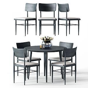 現代簡約餐桌椅模型3d模型