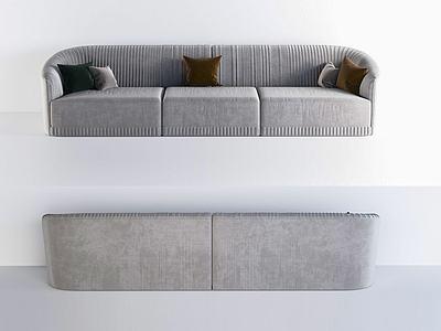 現代簡約多人沙發模型3d模型