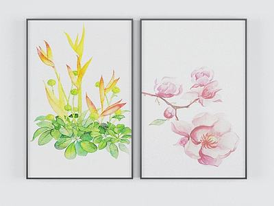 現代鮮花裝飾畫模型3d模型