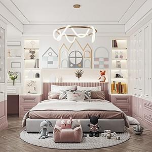 現代輕奢兒童房3d模型