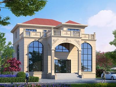 簡歐別墅外觀模型3d模型