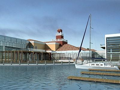海邊現代辦公樓模型3d模型