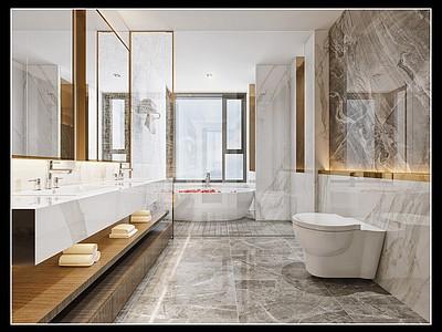 現代酒店衛生間模型3d模型