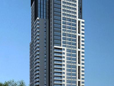 現代高層住宅樓模型3d模型