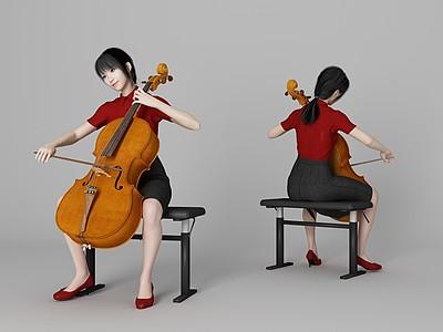 現代風格大提琴美女人物模型3d模型