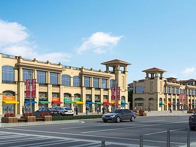 歐式商業街模型3d模型