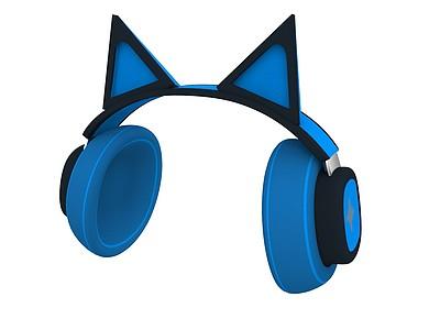 貓耳朵藍牙耳機3d模型