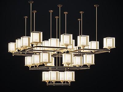 新中式吊燈3d模型