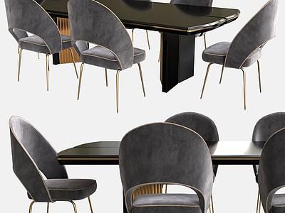 現代輕奢餐桌椅3d模型