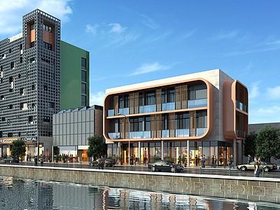 現代商業辦公樓3d模型