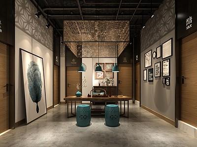 中式風格的茶室3d模型