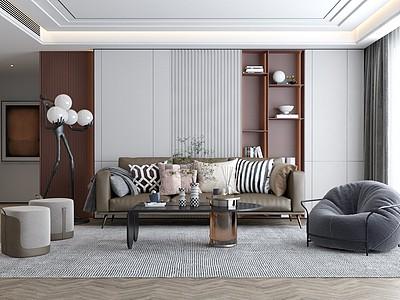 現代客廳沙發茶幾組合3d模型