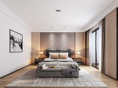 簡歐臥室模型3d模型