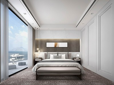 現代簡約臥室模型3d模型