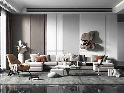 現代簡約風格客廳模型3d模型