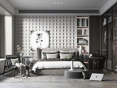 現代簡約風格主臥室模型3d模型