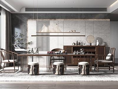新中式風格茶室模型3d模型
