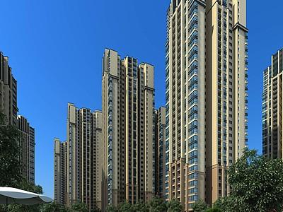 高檔公寓社區模型3d模型