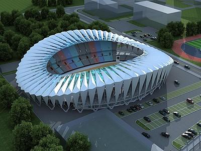 現代體育場看臺模型3d模型