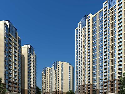現代高層住宅模型3d模型