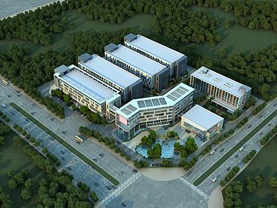 現代廠房辦公樓模型3d模型