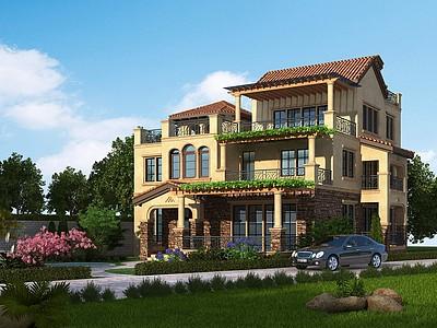 歐式獨棟別墅模型3d模型