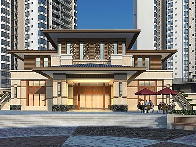 新中式售樓處模型3d模型