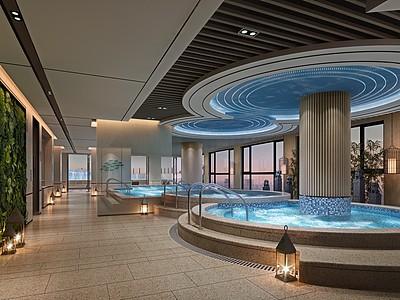 現代室內溫泉模型3d模型