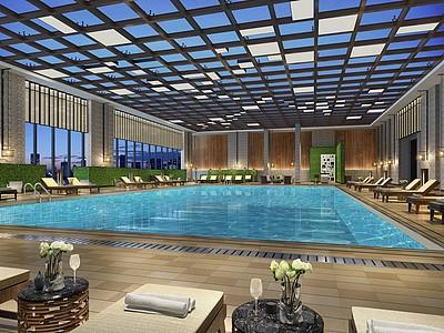 現代游泳池模型3d模型