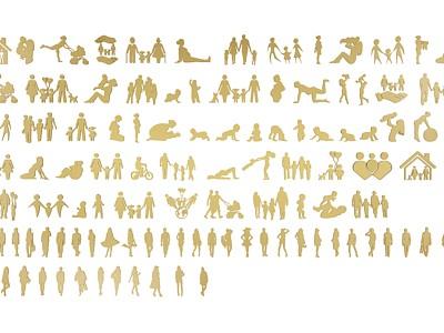 現代人物剪影模型3d模型