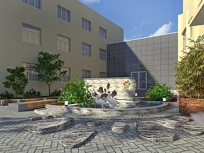學校室外小景觀模型3d模型