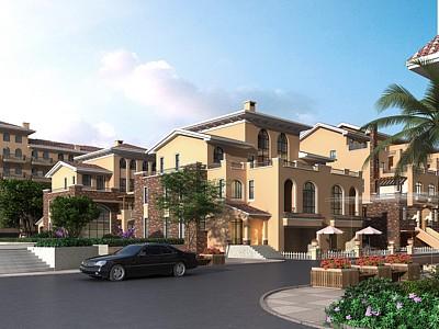歐式聯排別墅別墅模型3d模型