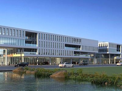 現代辦公樓汽車檢測站模型3d模型