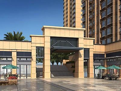 新古典小區大門入口模型3d模型