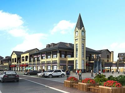 歐式商業街商業模型3d模型