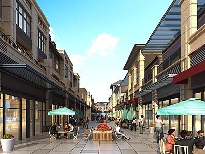 簡歐商業街商墅模型3d模型