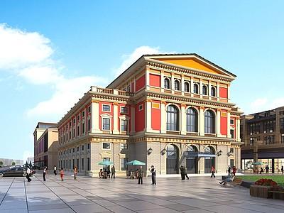 歐式商業街劇院模型3d模型