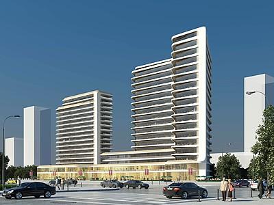 現代酒店辦公樓產業園模型3d模型