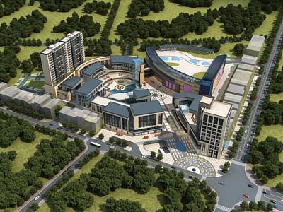 簡歐商業綜合體公寓辦公樓模型3d模型